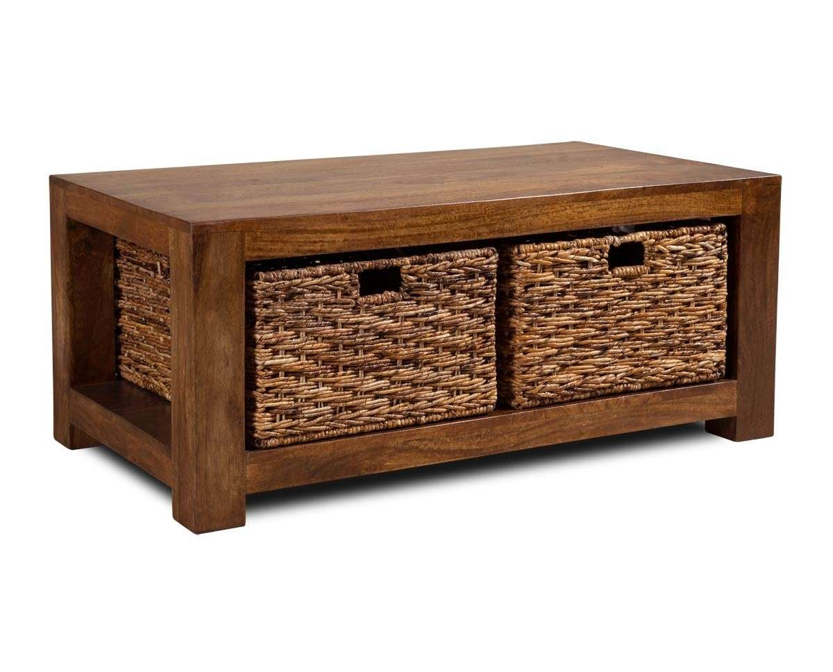 Dakota Mango Large Coffee Table With Baskets (View 8 of 20)