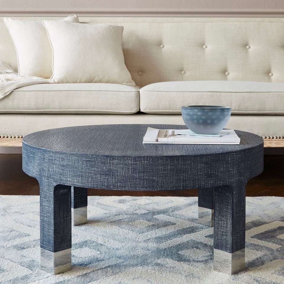 Dakota Round Coffee Table, Navy Blue – Bungalow 5 Throughout Popular Blue Coffee Tables (View 7 of 20)