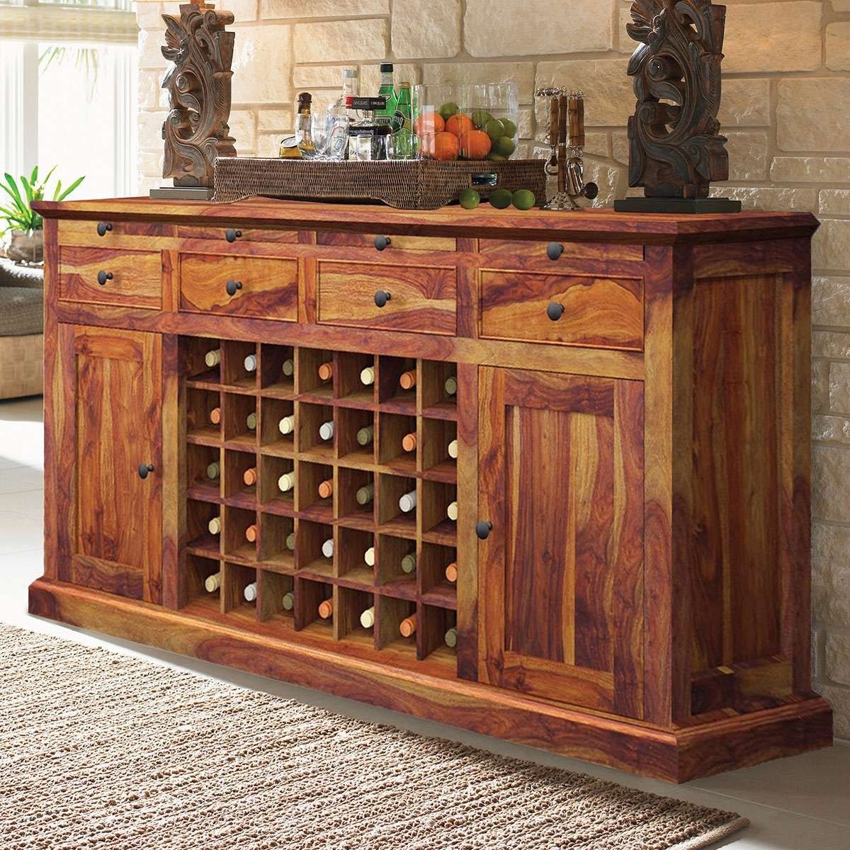 Dallas Ranch Solid Wood Grand Wine Bar Cabinet With Sideboards Bar Cabinet (View 7 of 20)