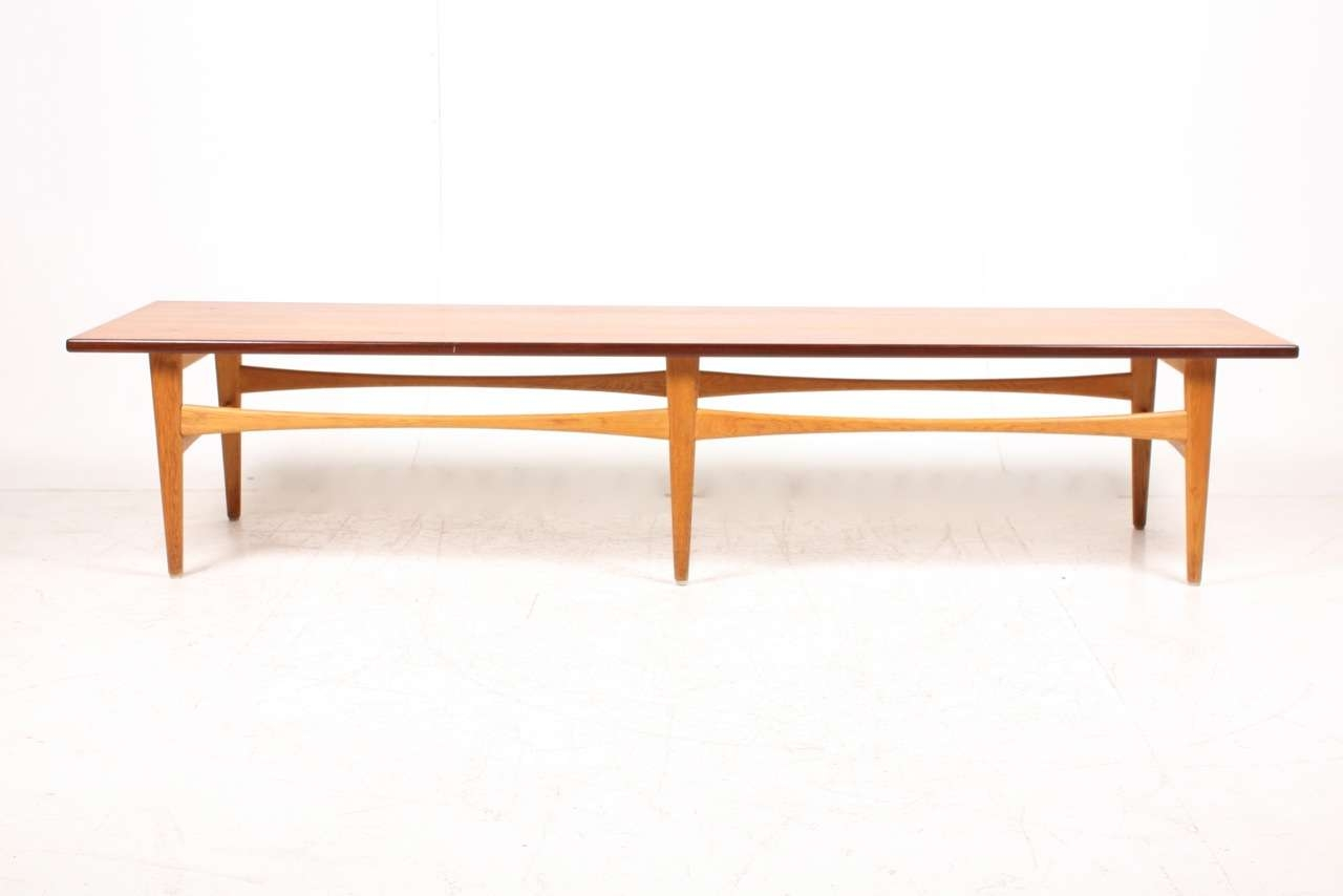 Danish Low Teak & Oak Coffee Table, 1950S For Sale At Pamono With Regard To Fashionable Low Oak Coffee Tables (View 5 of 20)