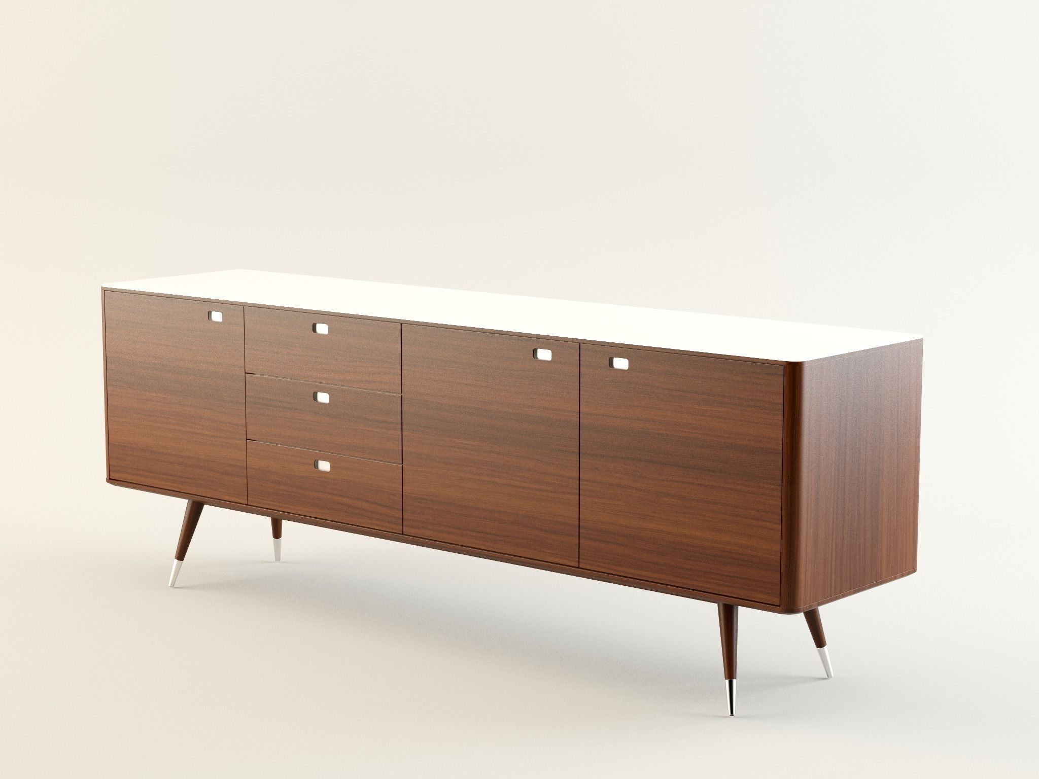 Danish Retro Sideboard 3D | Cgtrader In Danish Retro Sideboards (View 2 of 20)