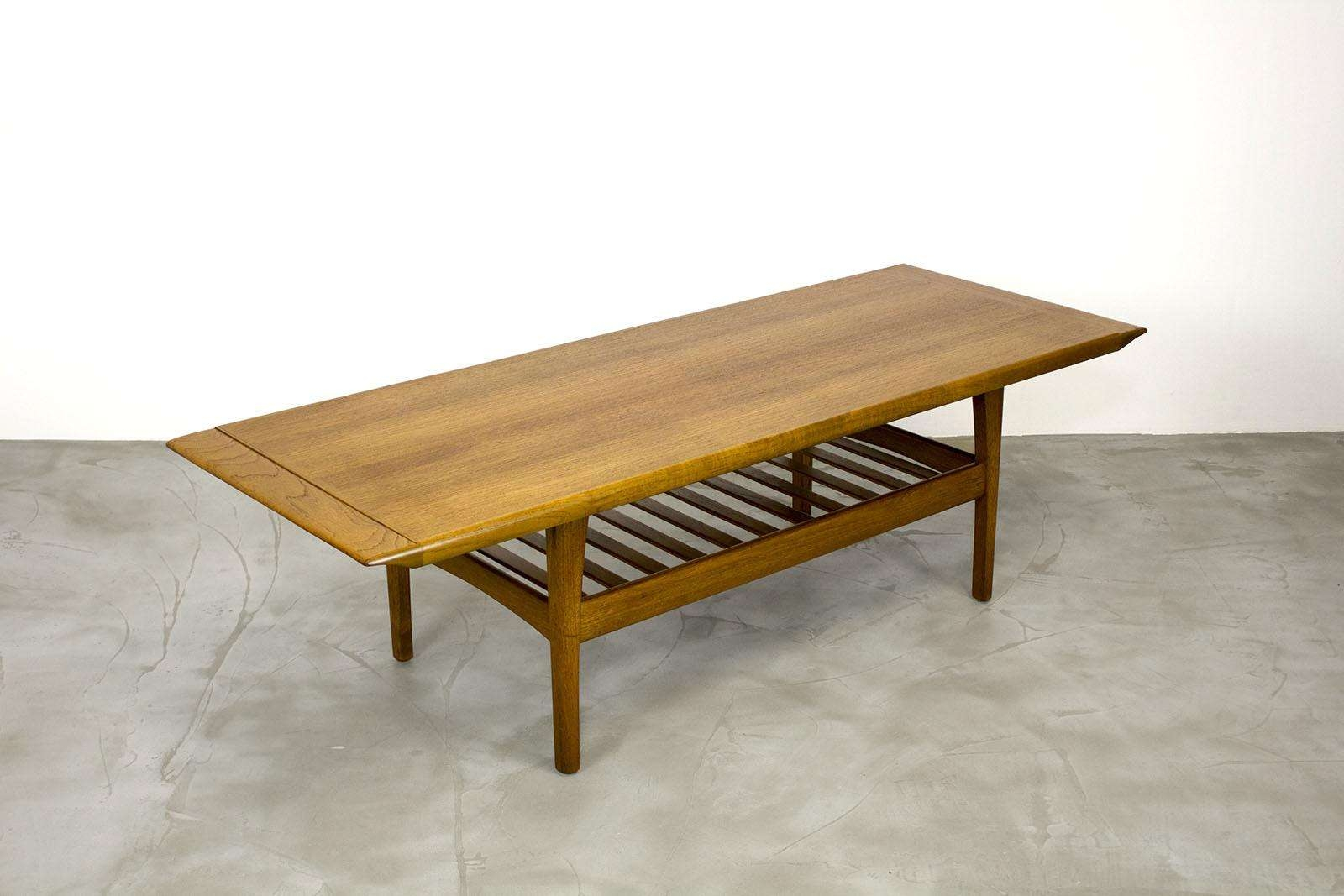 Danish Teak Coffee Table With Magazine Shelf, 1960S For Sale At Pamono Within Widely Used Coffee Tables With Magazine Rack (View 3 of 20)