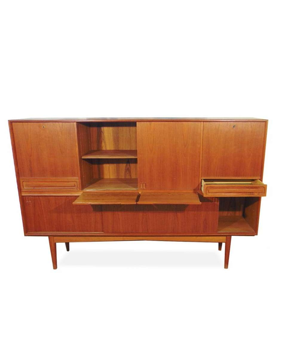 Danish Teak Sideboard With Bar Cabinet, 1960s For Sale At Pamono Intended For Sideboards Bar Cabinet (View 7 of 20)