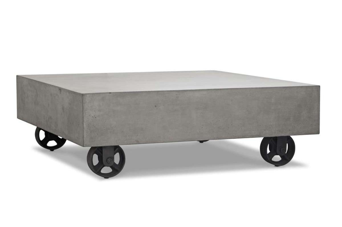 Darco Modern Concrete Coffee Table W/ Wheels In Latest Wheels Coffee Tables (View 9 of 20)