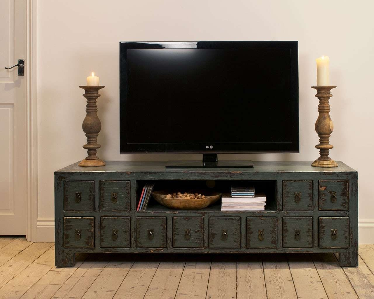 Dark Blue Tv Cabinet – Solid Wood Cupboard – Mindi Furniture Throughout Wooden Tv Cabinets (View 6 of 20)