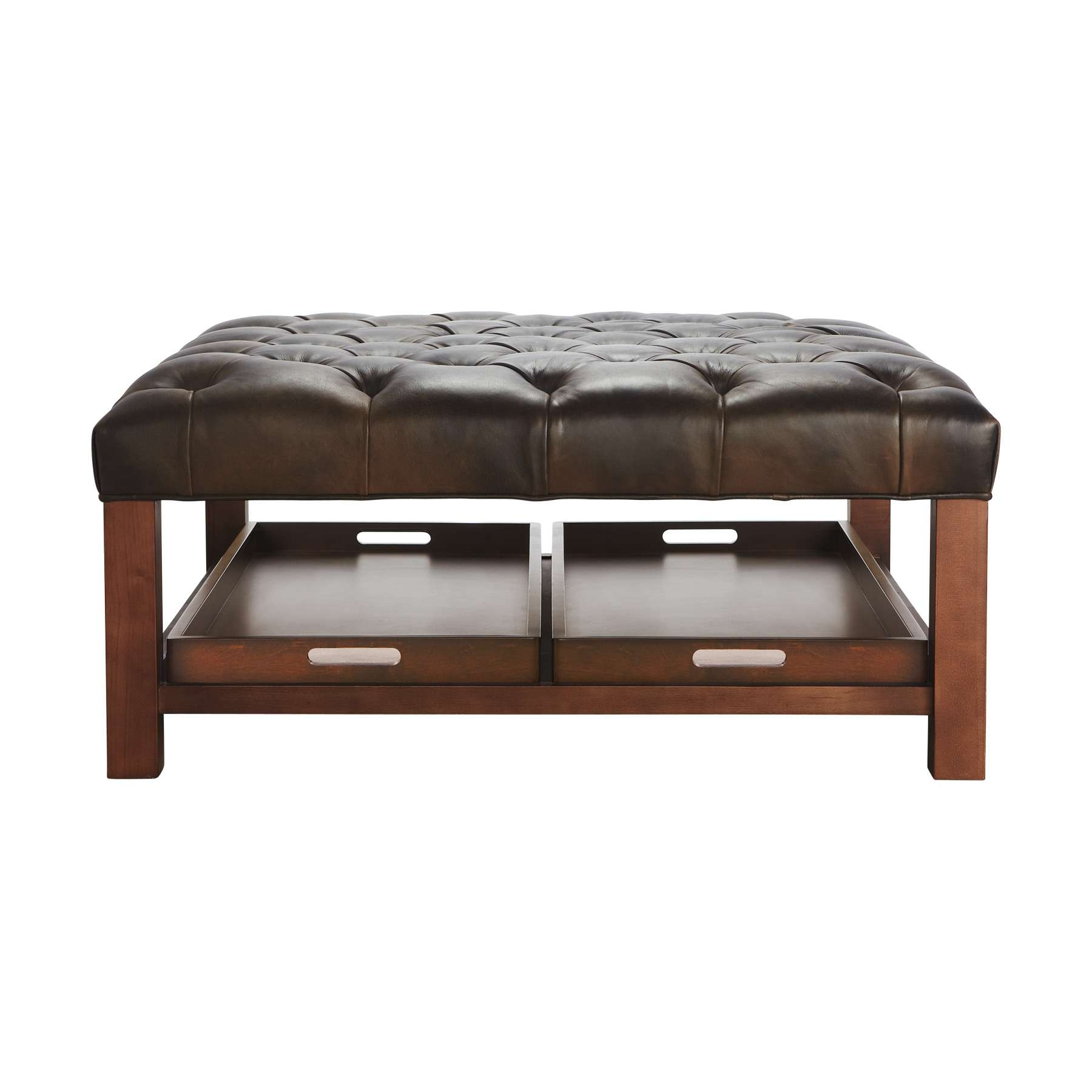 Dark Brown Leather Square Tufted Ottoman Coffee Table With Wooden Throughout Recent Brown Leather Ottoman Coffee Tables (View 10 of 20)