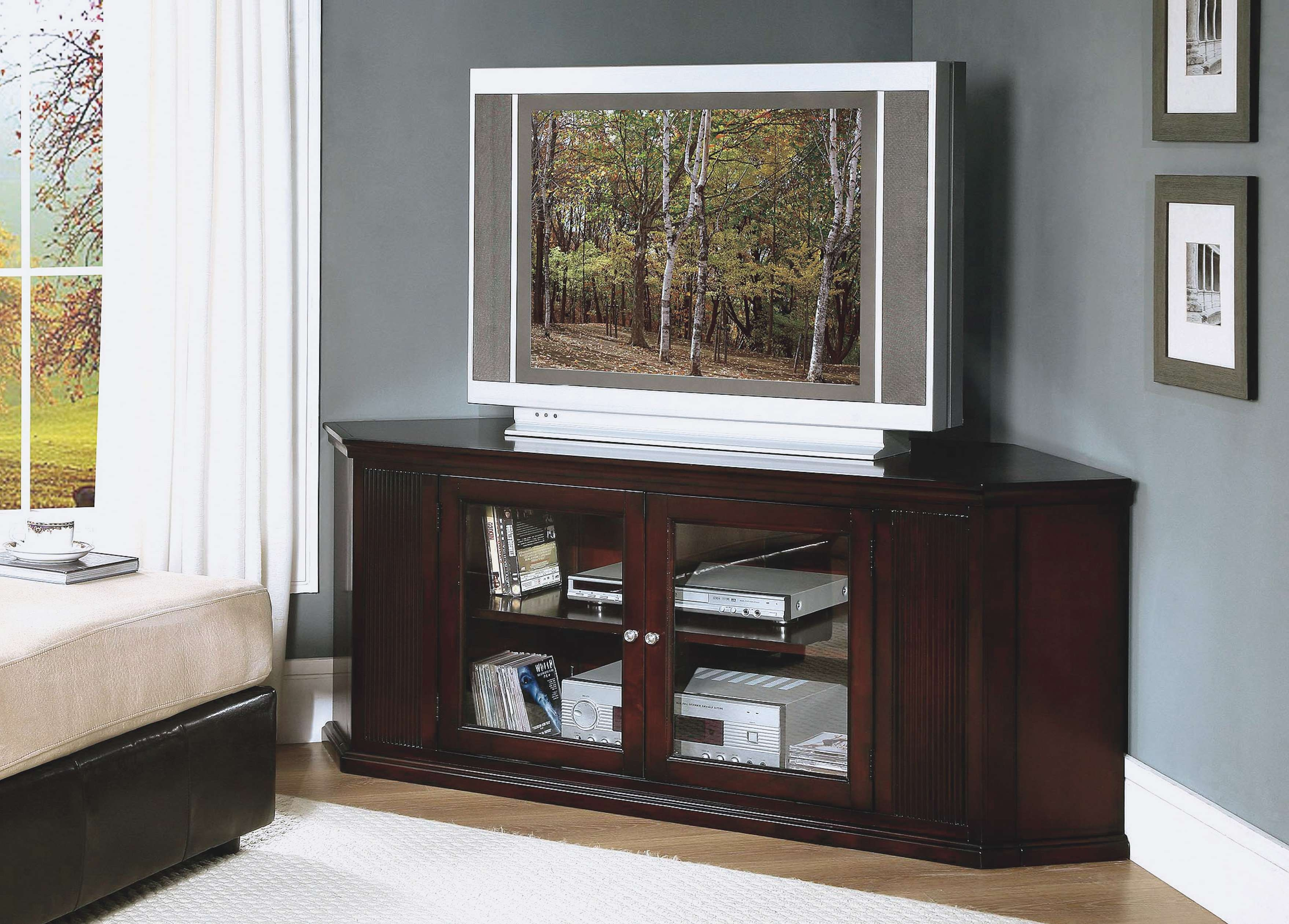 Dark Brown Oak Wood Corner Tv Stand With Glass Doors Of Dazzling Intended For Corner Tv Cabinets With Glass Doors (View 6 of 20)