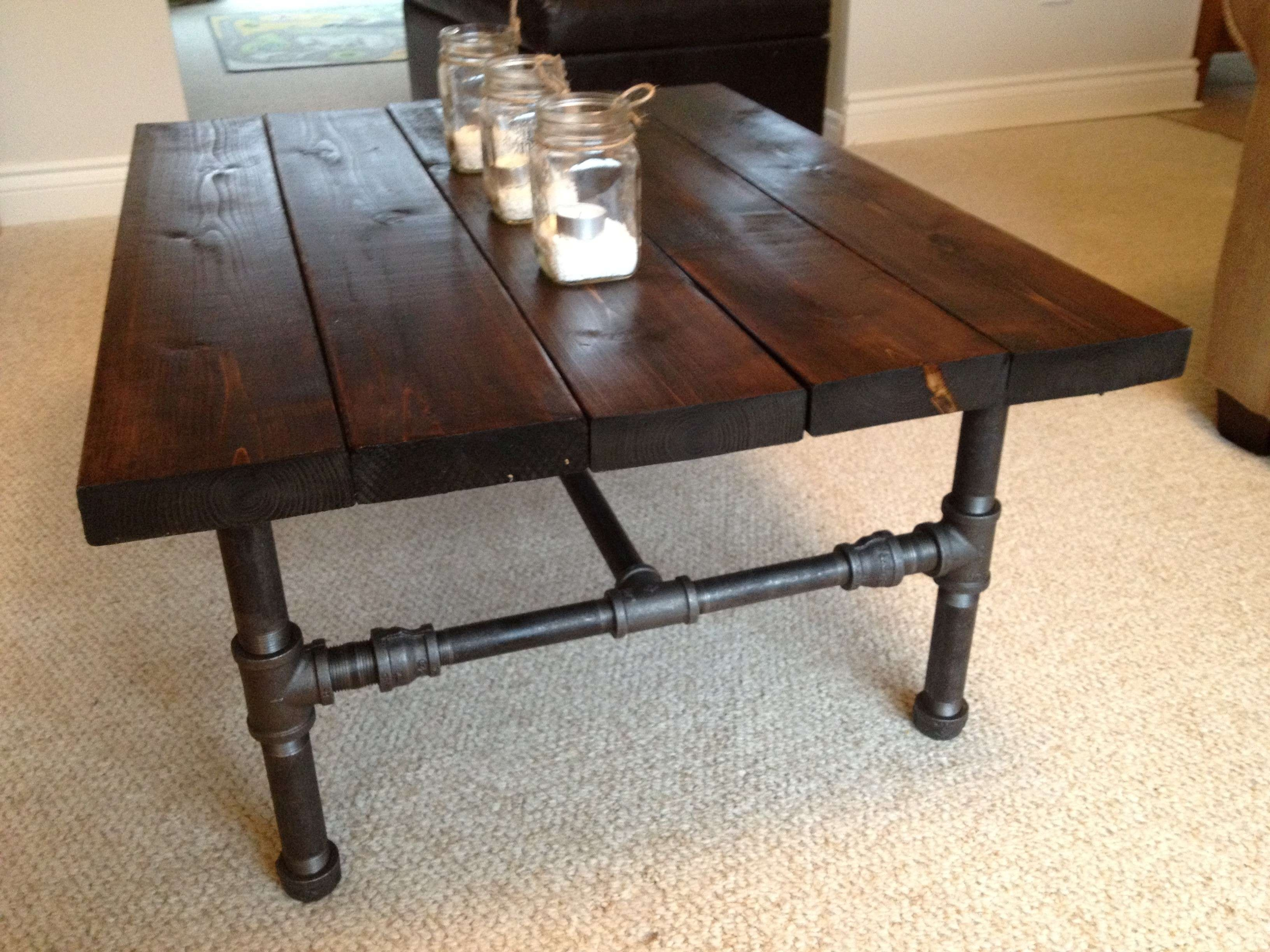 Dark Brown Rectangle Rustic Wood And Metal Pipe Legs Diy Coffee For Most Recent Rustic Wood Diy Coffee Tables (View 8 of 20)