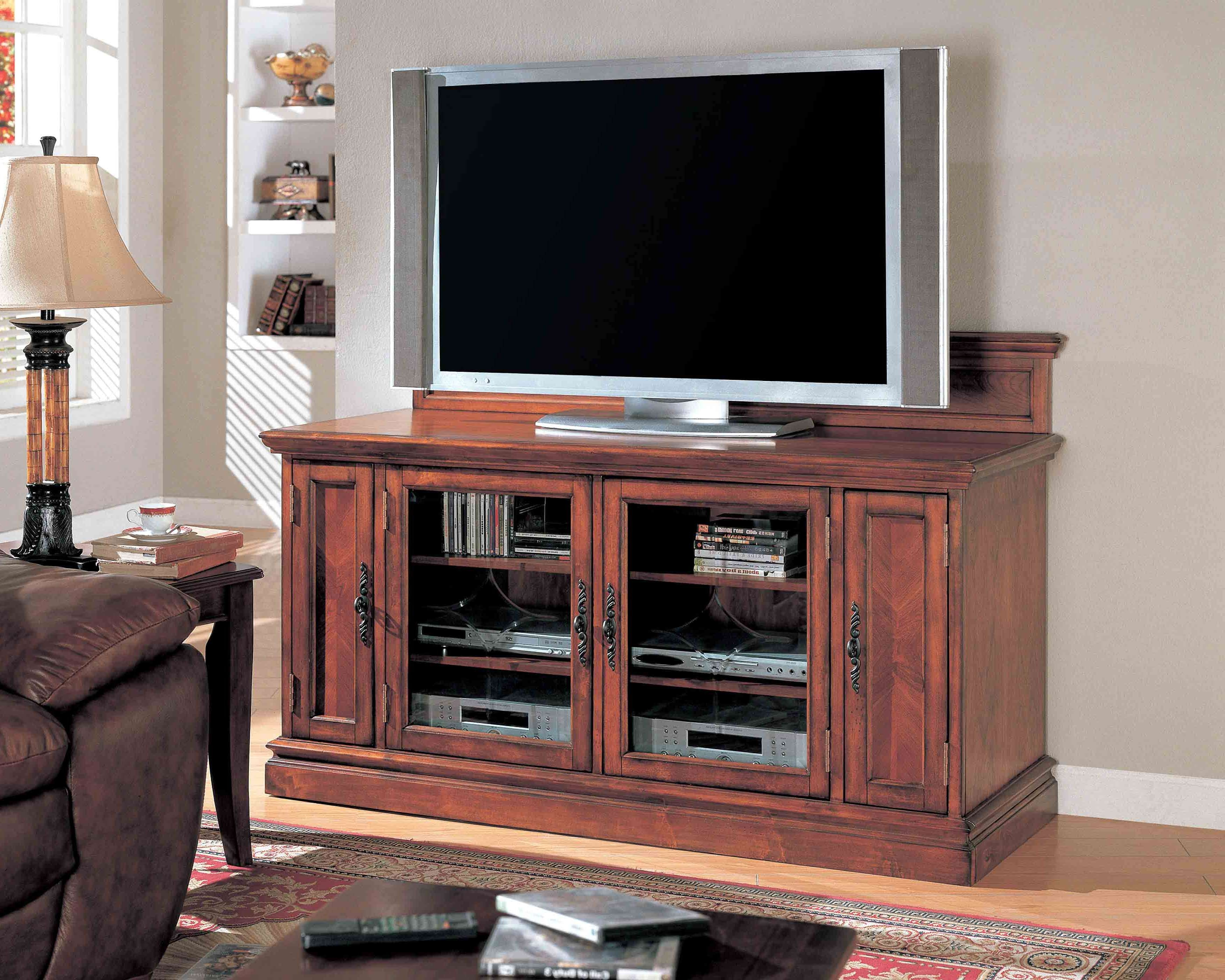 Dark Brown Wooden Tv Cabinet With Glass Doors On The Floor Throughout Wooden Tv Cabinets With Glass Doors (View 6 of 20)