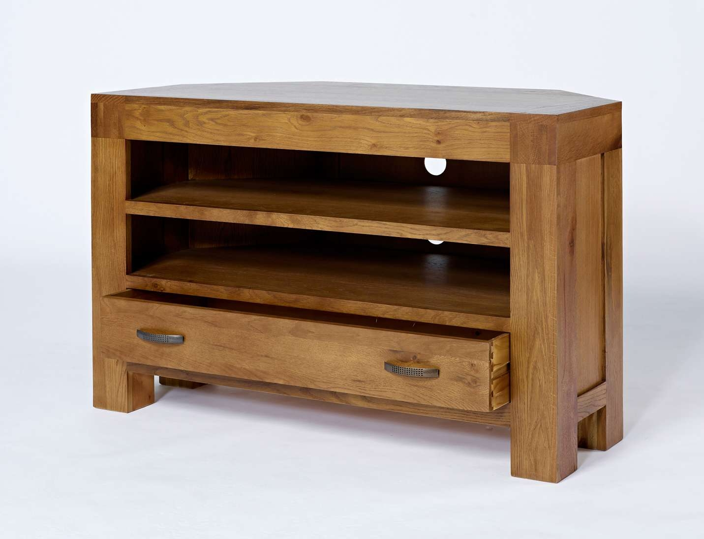 Dark Oak Corner Tv Unit – Rustic Santana Oak Regarding Rustic Corner Tv Cabinets (View 9 of 20)