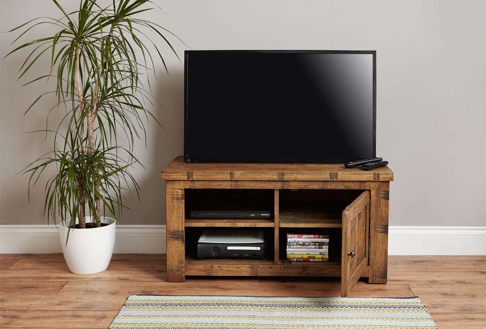 Dark Oak Tv Stand | Heyford Oak From Big Blu For Big Tv Cabinets (View 8 of 20)