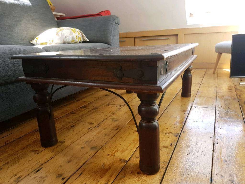 Dark Wood Indian Coffee Table And Side Table (View 7 of 20)