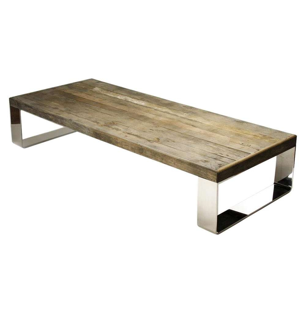 Darren Contemporary Reclaimed Wood Steel Coffee Table (View 7 of 20)