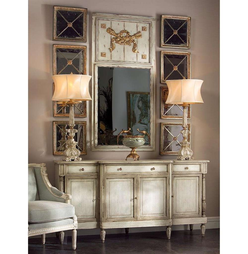 Delphine French Country Two Tone Antique Taupe Grey Sideboard Within French Country Sideboards (View 7 of 20)