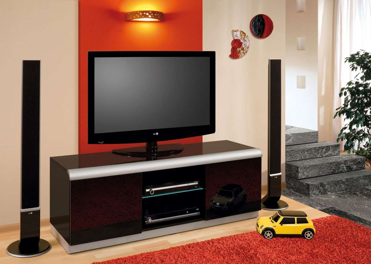 Denver 2 Black High Gloss Tv Cabinet | Tv Stands Online With Led Tv Cabinets (View 1 of 20)