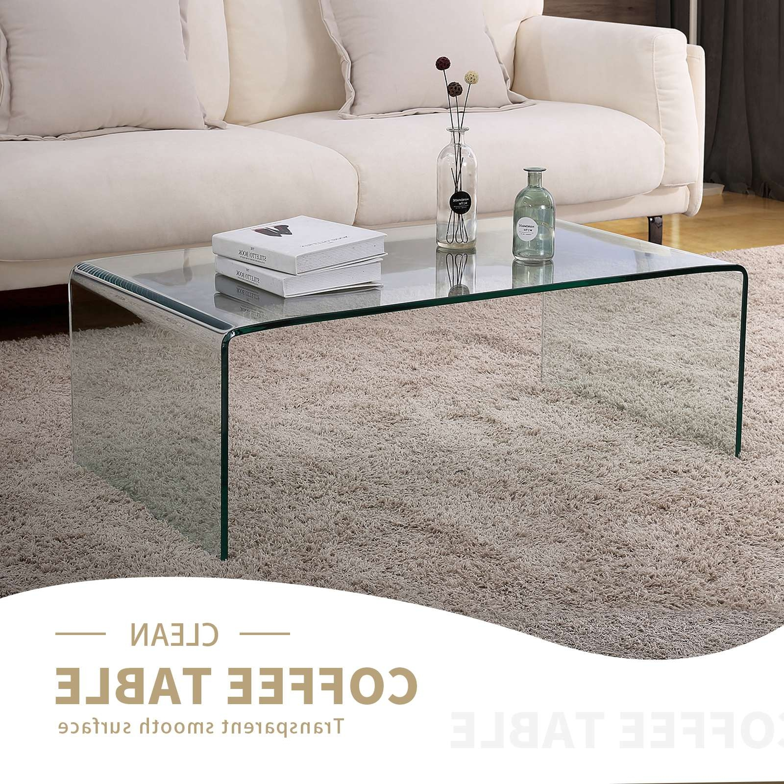 Design Rectangle Transparent Glass Coffee Table Living Room Throughout Famous Transparent Glass Coffee Tables (View 11 of 20)