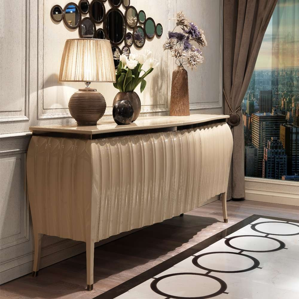 Designer High Gloss Lacquered Sideboard Buffet | Juliettes In Cream And Brown Sideboards (View 3 of 20)