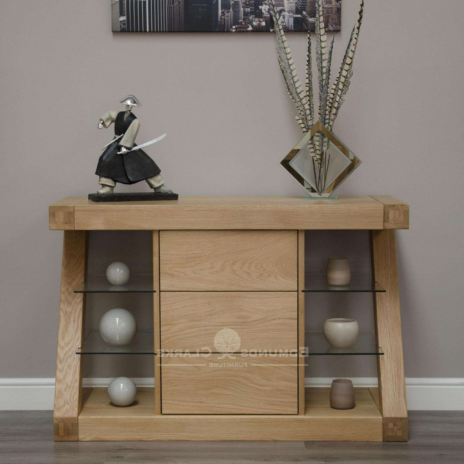 Designer Solid Oak Small Sideboard – Oak Sideboards For The Within Lounge Sideboards (View 4 of 20)