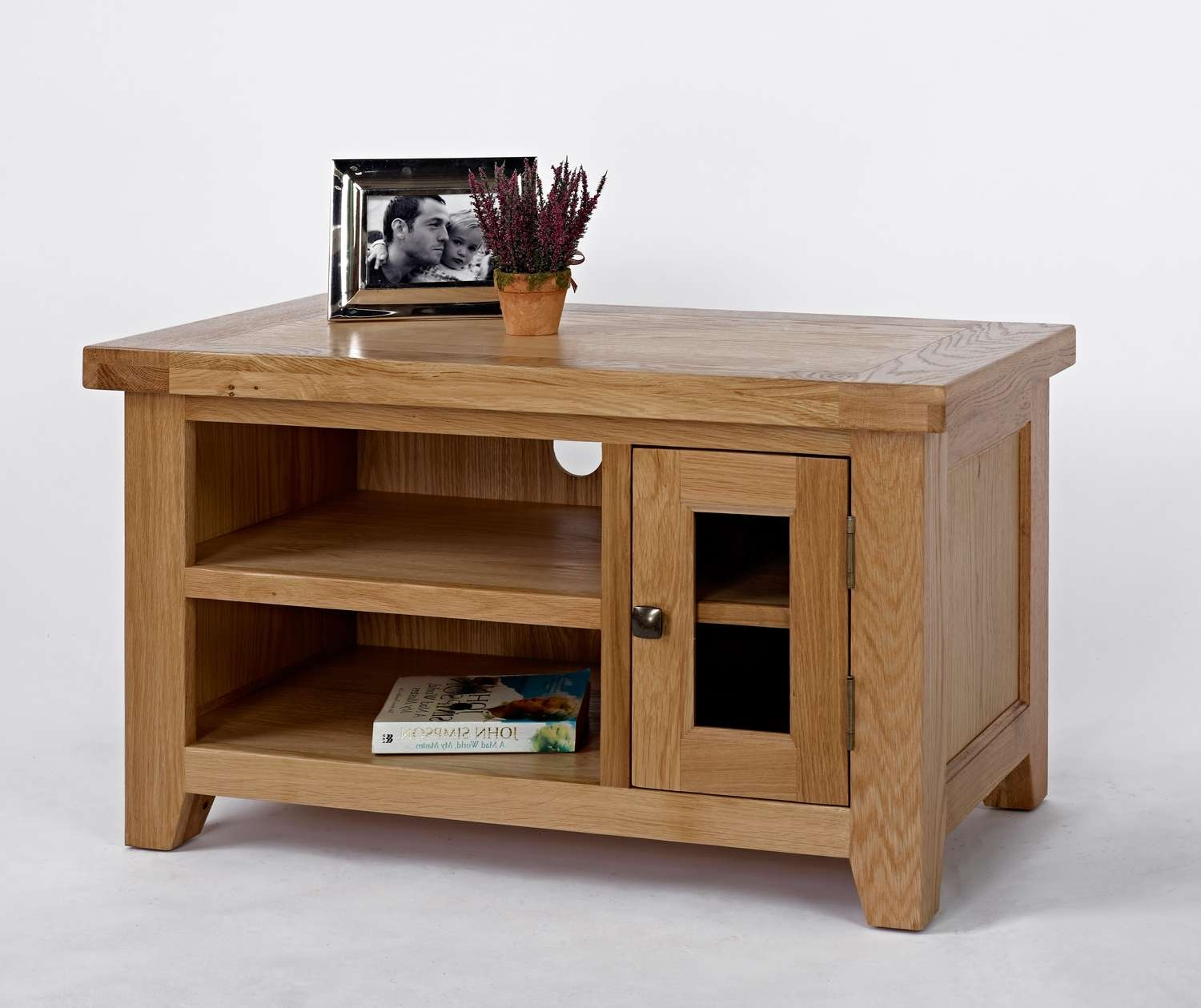 Devon Oak Small Tv Unit | Oak Furniture Solutions Intended For Small Oak Tv Cabinets (View 6 of 20)