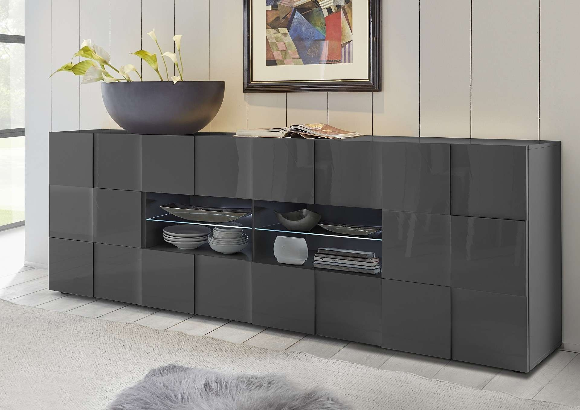 Diana 241cm – Grey Gloss Sideboard With Led Lights – Sideboards Within Gloss Sideboards Furniture (View 16 of 20)