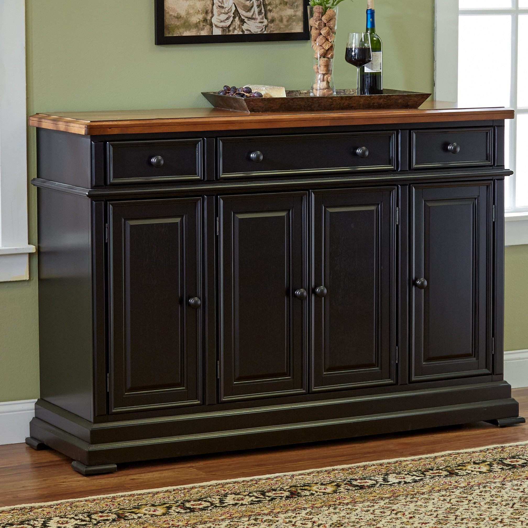 Dining Room Buffet Cabinet Antique And Long Wall Mirror Plant Pot For Dark Brown Sideboards (View 20 of 20)