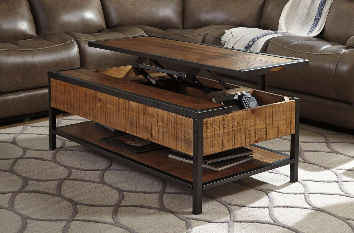 Distressed Natural Wood Lift Top Coffee Table – Caravana Furniture For Most Up To Date Lift Top Coffee Tables (View 6 of 20)