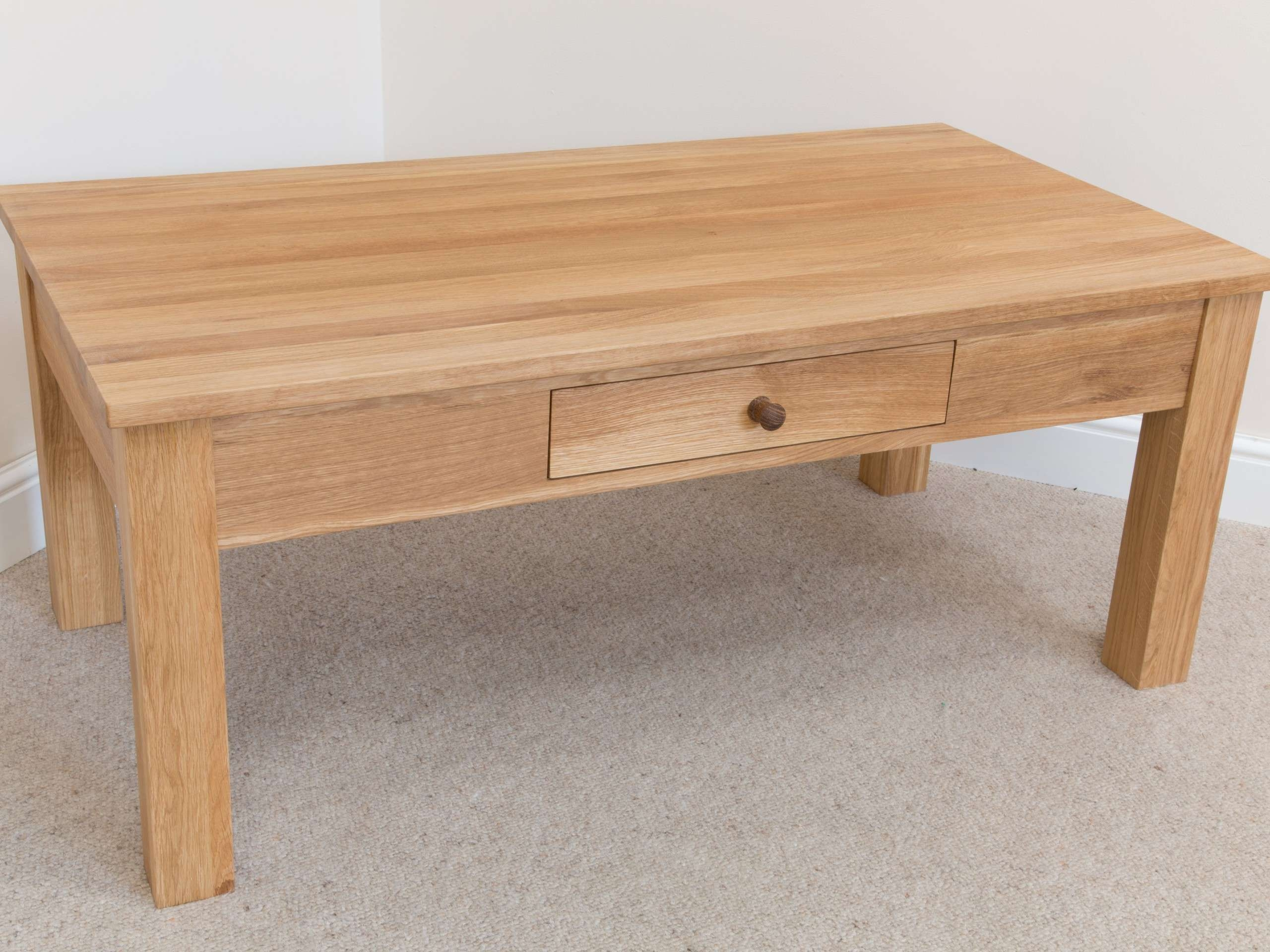 Divine Solid Oak Coffee Table With Drawers New At Drawer For Fashionable Solid Oak Coffee Table With Storage (View 4 of 20)