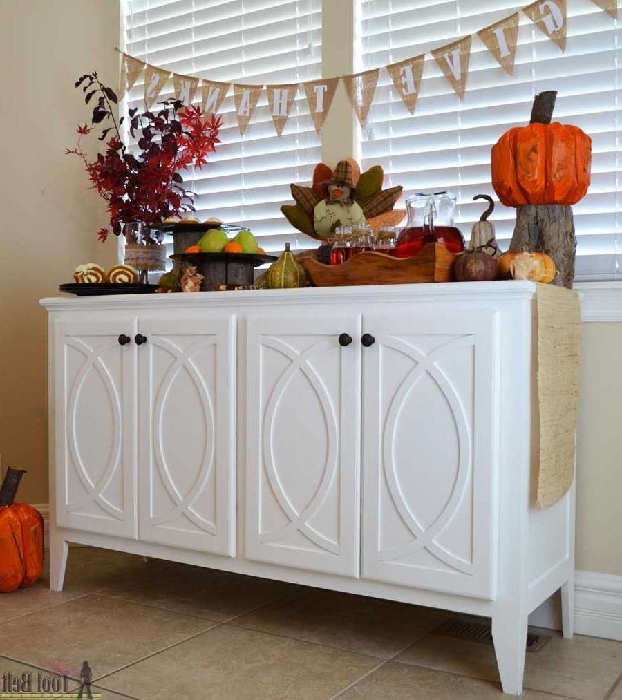 Diy Buffet Sideboard With Circle Trim Doors – Her Tool Belt Intended For Diy Sideboards (View 9 of 20)