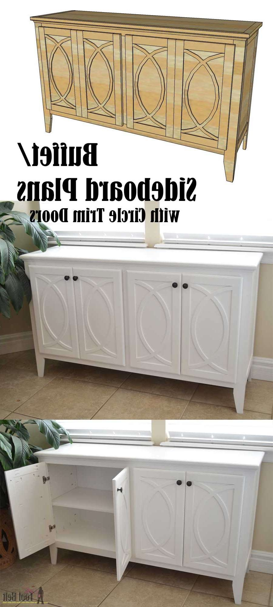 Diy Buffet Sideboard With Circle Trim Doors – Her Tool Belt Within Diy Sideboards (View 15 of 20)