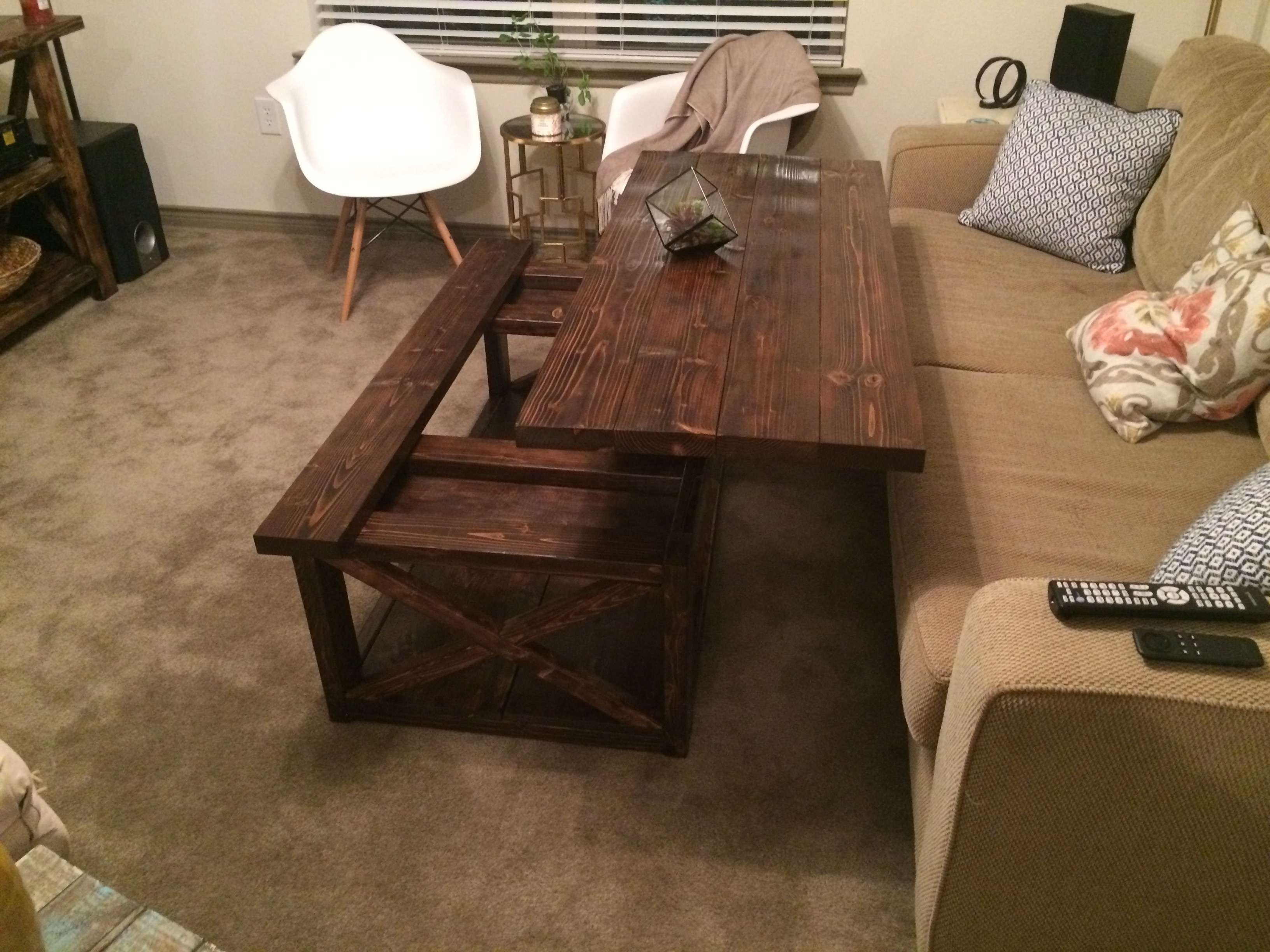 Diy Lift Top Coffee Table – Rustic X Style – Diy Projects In Fashionable Hinged Top Coffee Tables (View 3 of 20)
