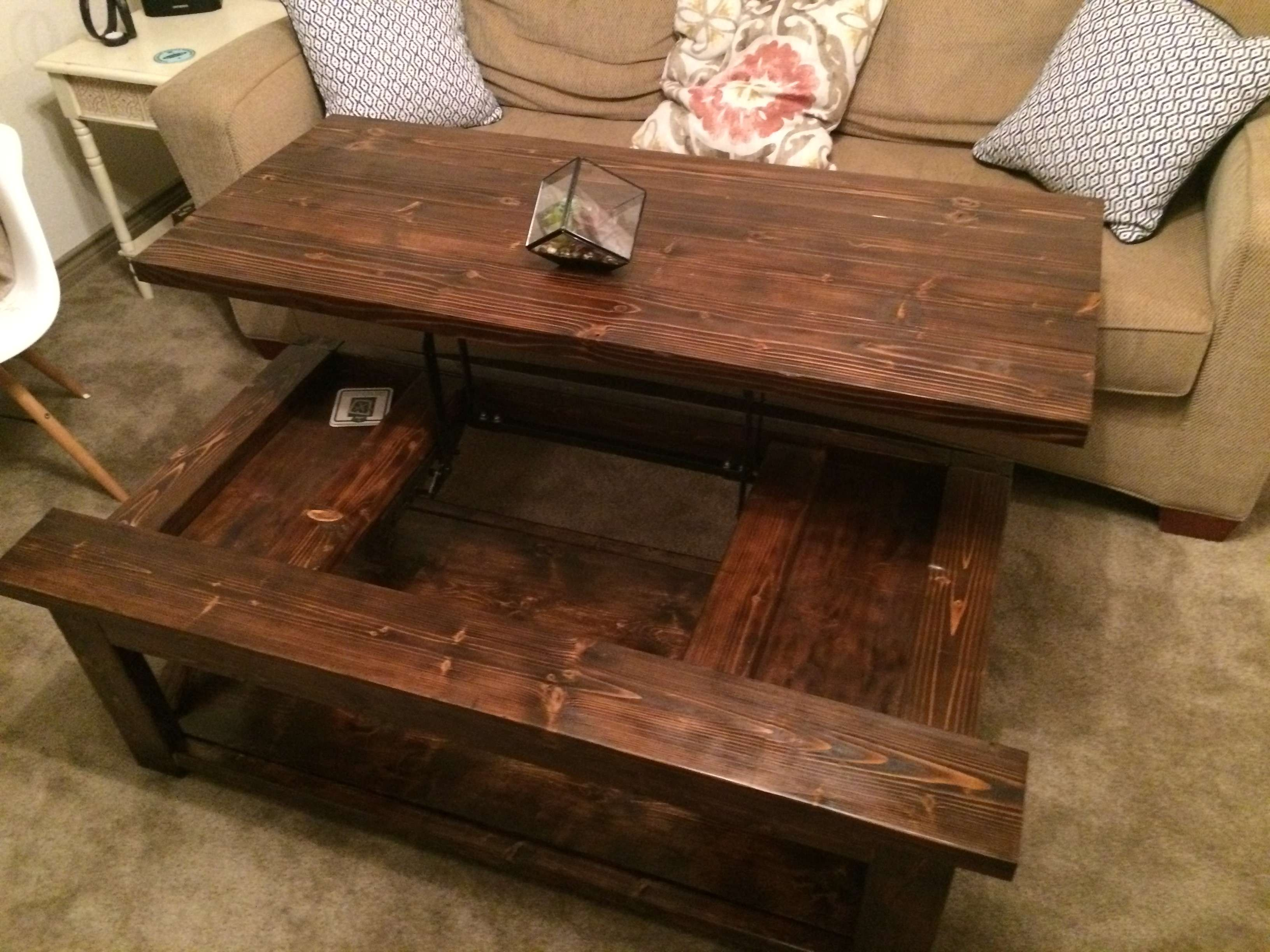 Diy Lift Top Coffee Table – Rustic X Style – Diy Projects With Newest Hinged Top Coffee Tables (View 4 of 20)