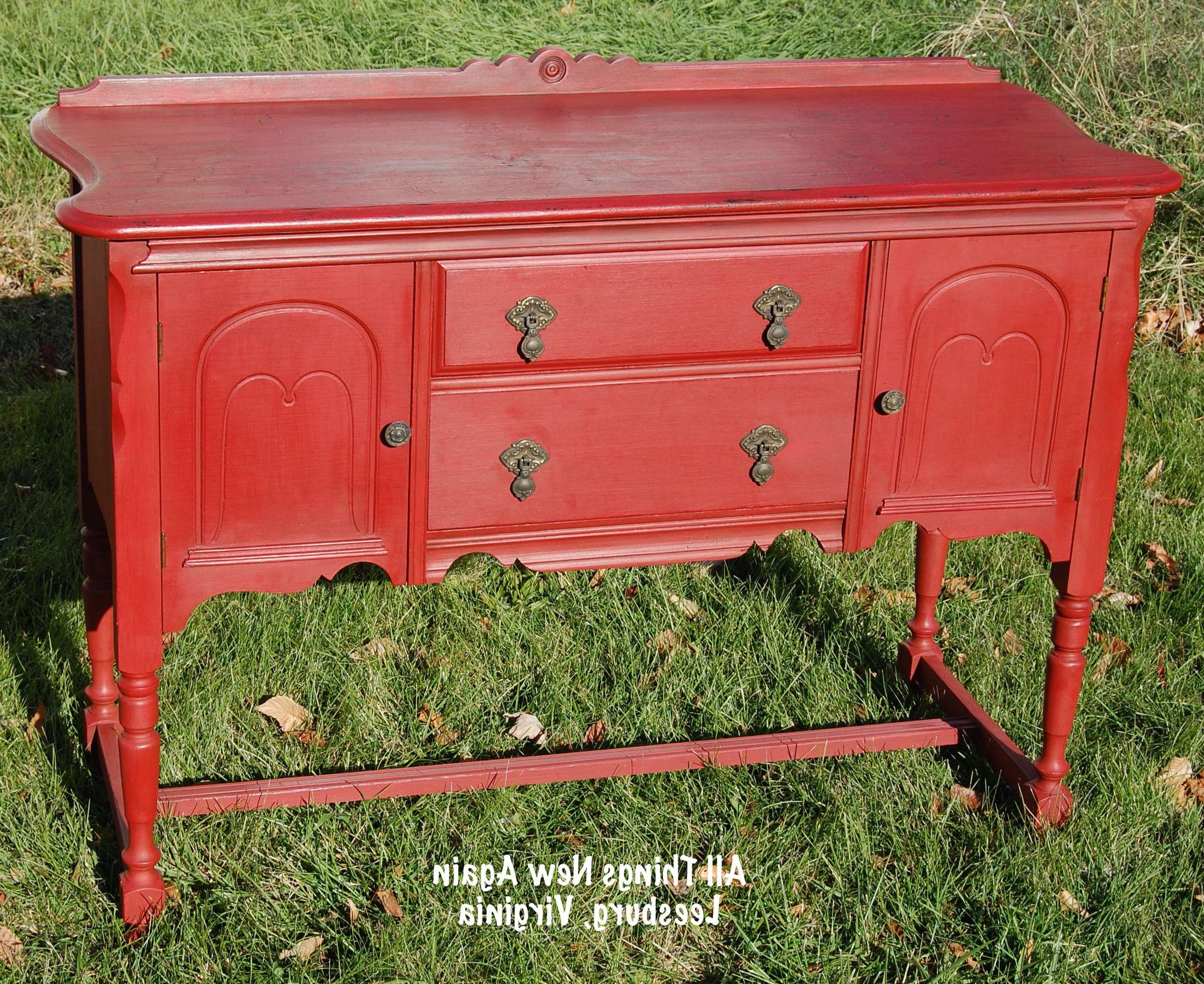 Diy Paint Tutorial: When All Else Fails, Crackle The Heck Out Of With Regard To Red Buffet Sideboards (View 5 of 20)