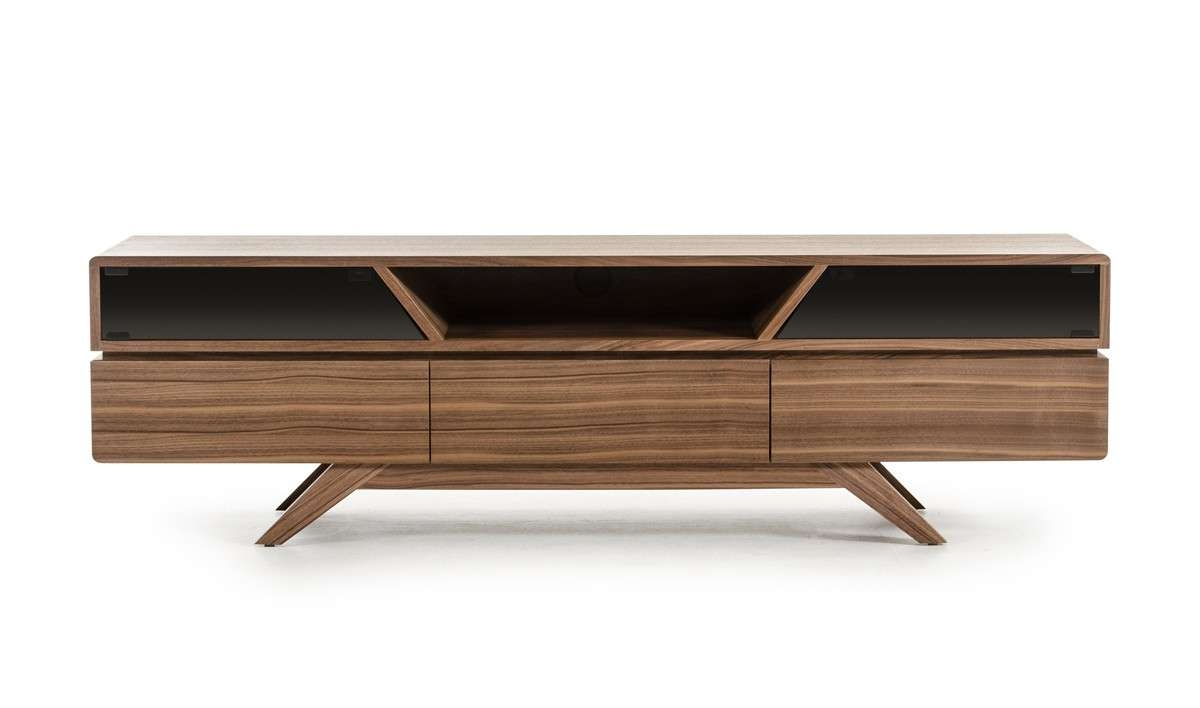 Domus Soria Mid Century Walnut Tv Stand Regarding Walnut Tv Cabinets With Doors (View 4 of 20)