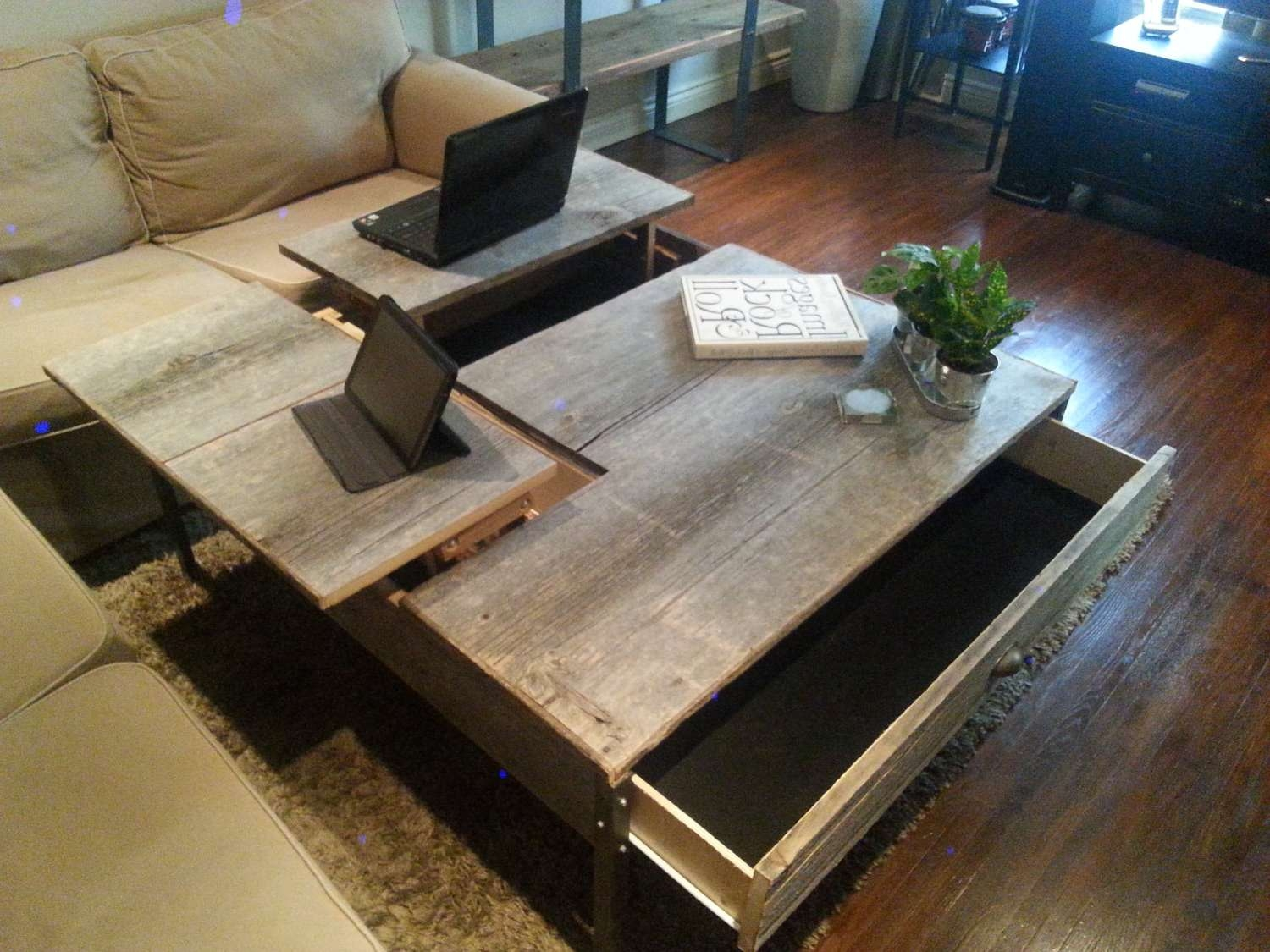 Double Pop Up Barn Wood Coffee Table Intended For Well Known Pop Up Top Coffee Tables (View 10 of 20)