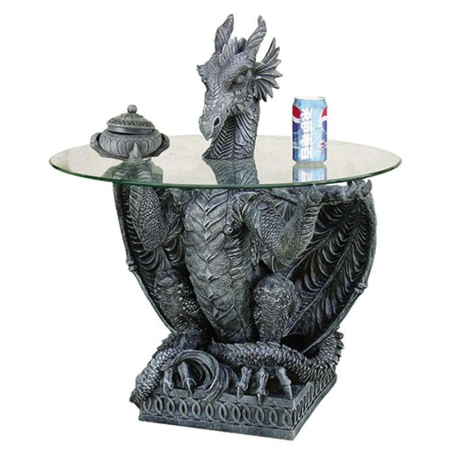 Dragon Gray Sculptural Dragon Table With Glass Top – 31 Inches Throughout Trendy Dragon Coffee Tables (View 1 of 20)