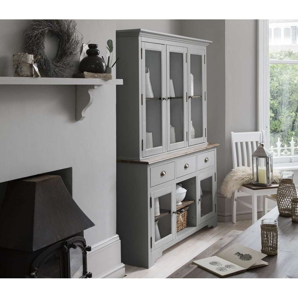 Dresser And Sideboard With Glass Doors In Silk Grey | Noa & Nani With Regard To Sideboards With Glass Doors (View 10 of 20)
