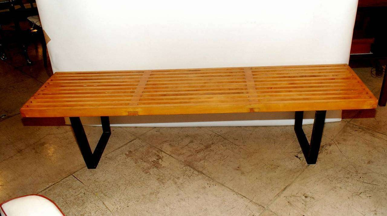 Early George Nelson Slat Bench / Coffee Tableherman Miller For Fashionable Nelson Coffee Tables (View 6 of 20)