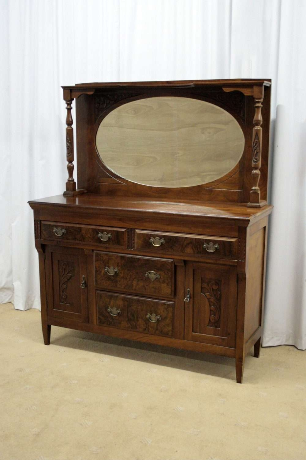 Edwardian Gany Mirror Backed Sideboard Antiques Atlas Regarding Antique Sideboards With View 9
