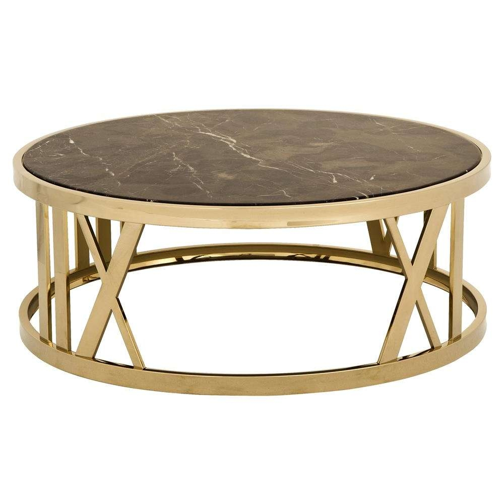 Eichholtz Baccarat Hollywood Regency Brown Marble Gold Round Throughout Newest Gold Round Coffee Table (Gallery 16 of 20)