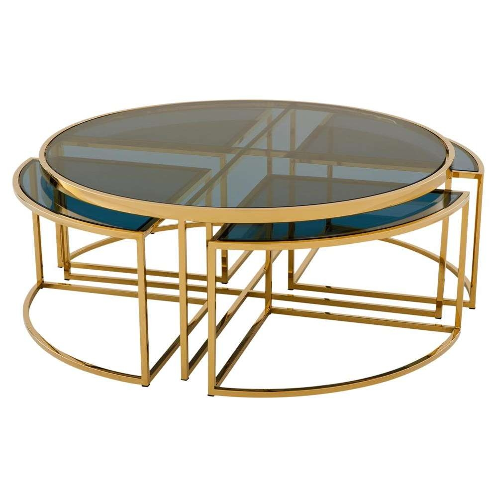 Eichholtz Bergen Hollywood Gold Blue Glass Nesting Round Coffee In Fashionable Gold Round Coffee Table (View 11 of 20)