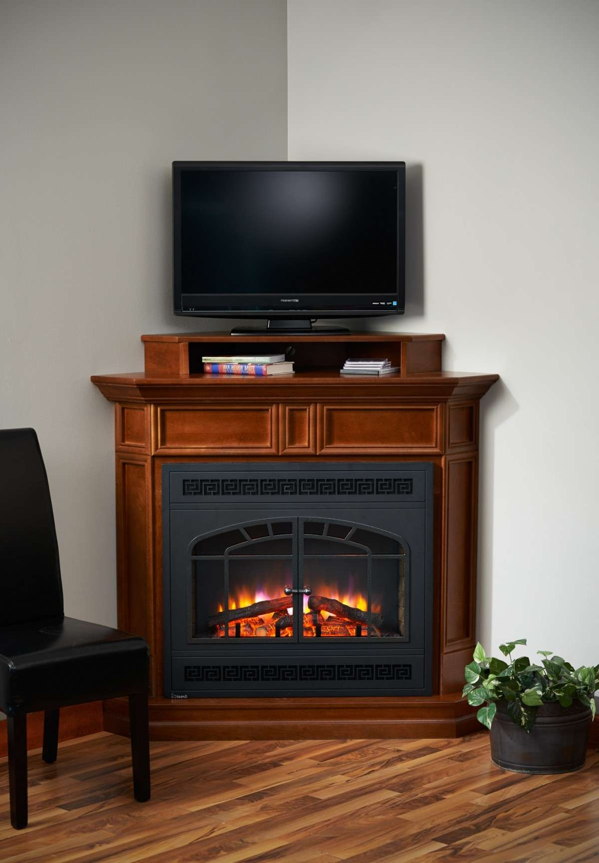 Electric Fireplace Corner Columbia Cabinet And Base Built In Throughout Small Corner Tv Cabinets (View 9 of 20)