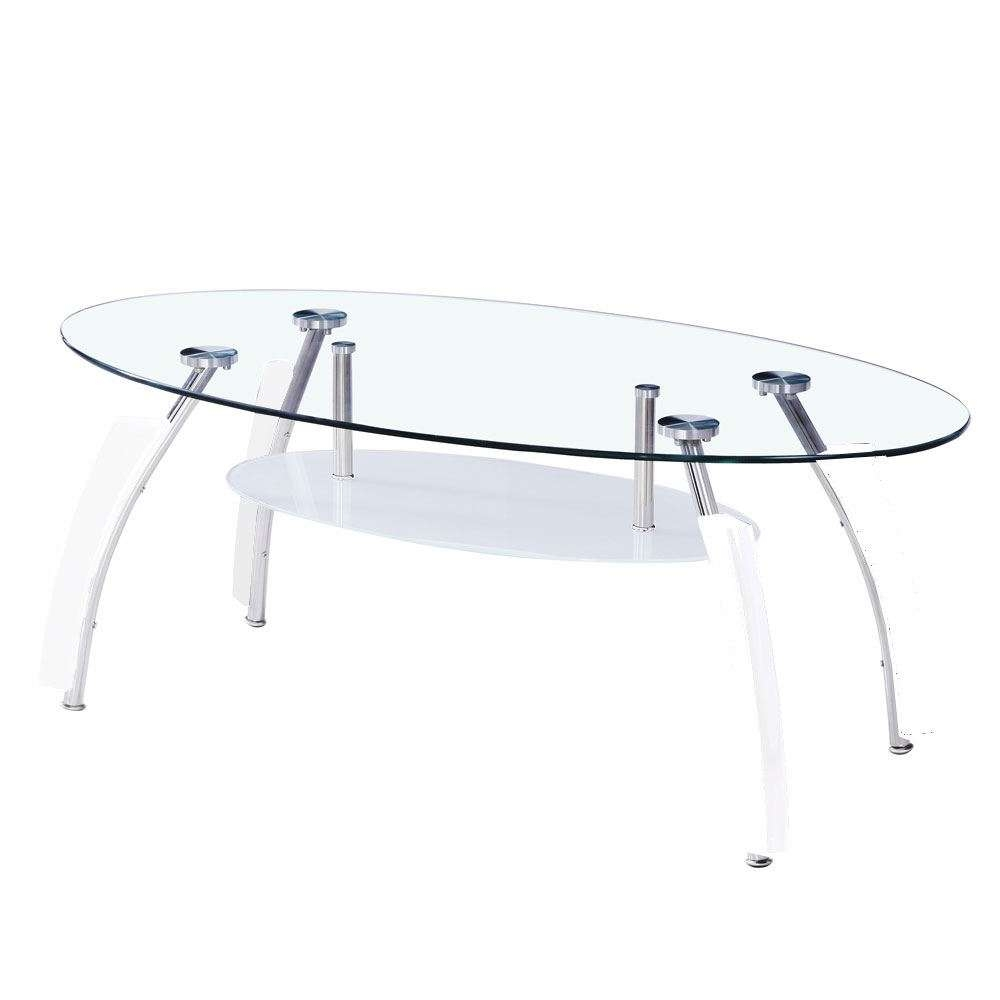 Elena Coffee Table Oval Top White Black Clear Glass Shelf Modern With Regard To Current Elena Coffee Tables (View 13 of 20)