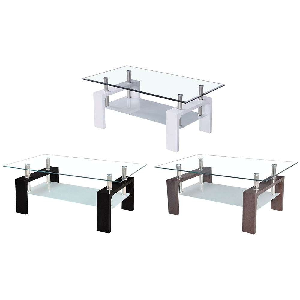 Elise Coffee Tables Rectangular Top White Walnut Black Glass For Preferred Elise Coffee Tables (Gallery 3 of 20)