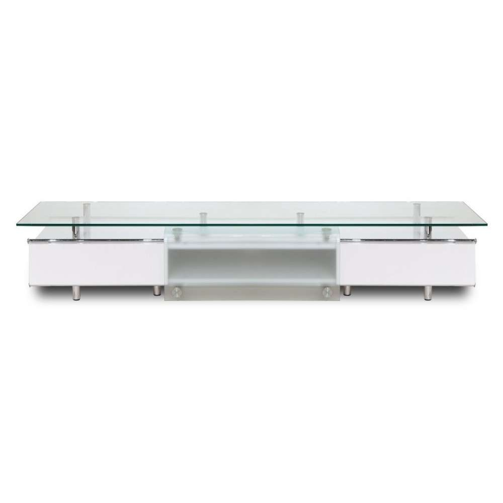 Ema High Gloss White Tv Stand, White Line Imports – Modern Manhattan Intended For Tv Cabinets Gloss White (View 4 of 20)