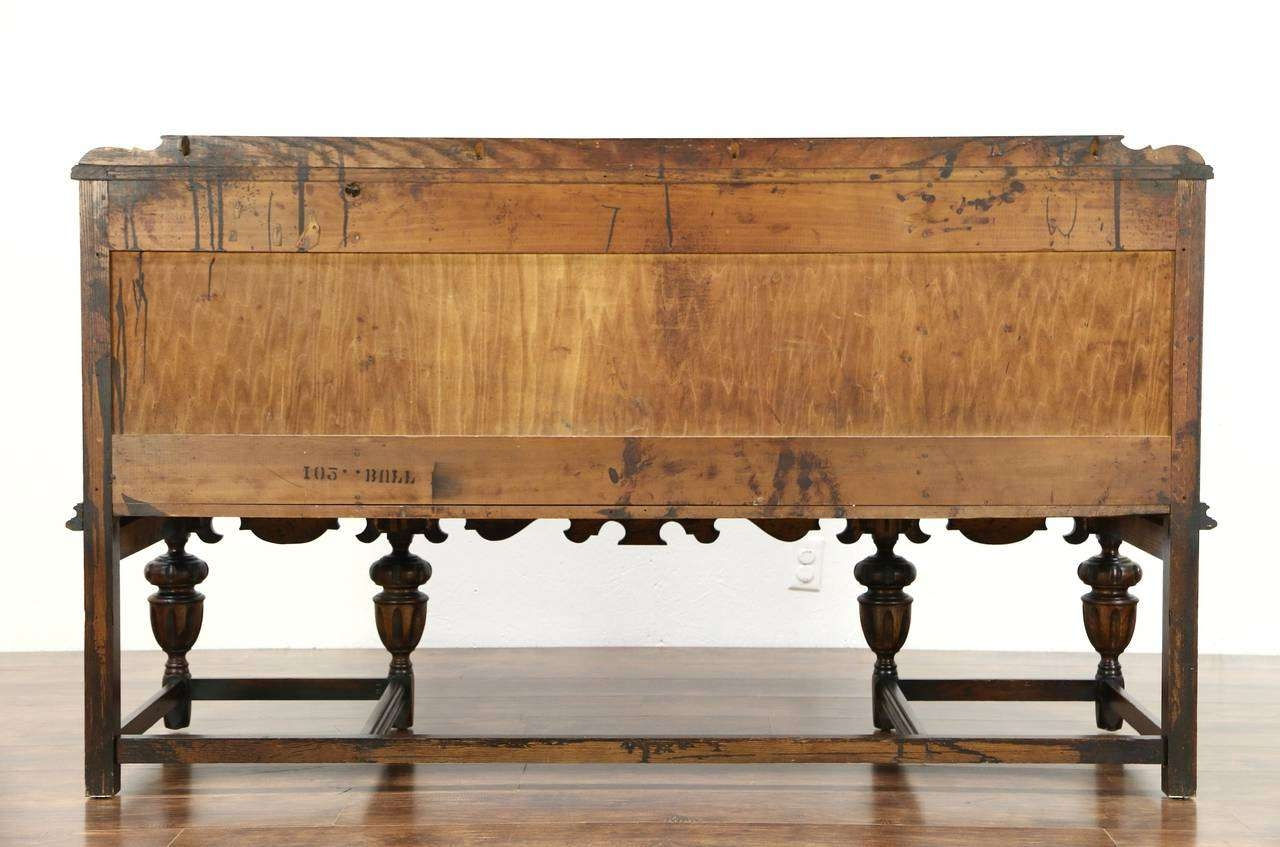 English Tudor 1920 Antique Carved Oak Sideboard, Server Or Buffet Intended For Jacobean Sideboards Buffets (View 19 of 20)