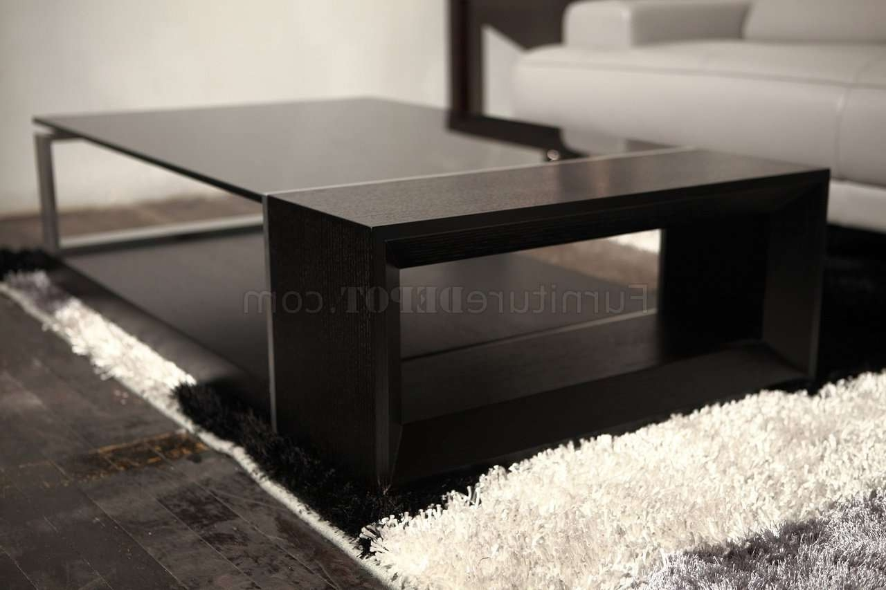 Espresso Side Table With Drawer Tags : Exquisite Espresso Coffee With Most Current Black Wood And Glass Coffee Tables (View 9 of 20)
