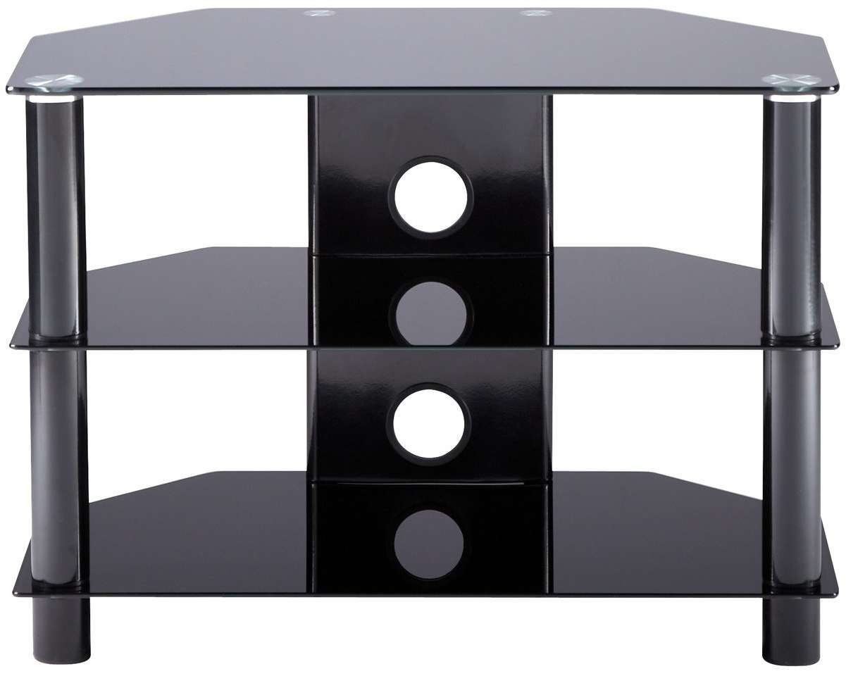 Essential Medium Sized Black Tv Stand With 2 Shelf 21710 Pertaining To Glass Tv Cabinets (View 9 of 20)