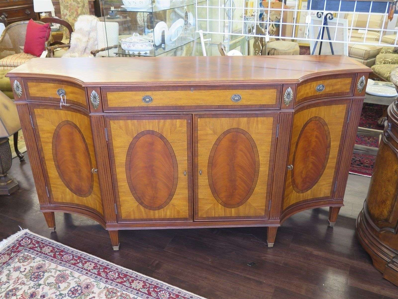 Ethan Allen Easton Sideboard Buffet Antique Spice 576 Mahogany With Regard To Ethan Allen Sideboards (View 8 of 20)