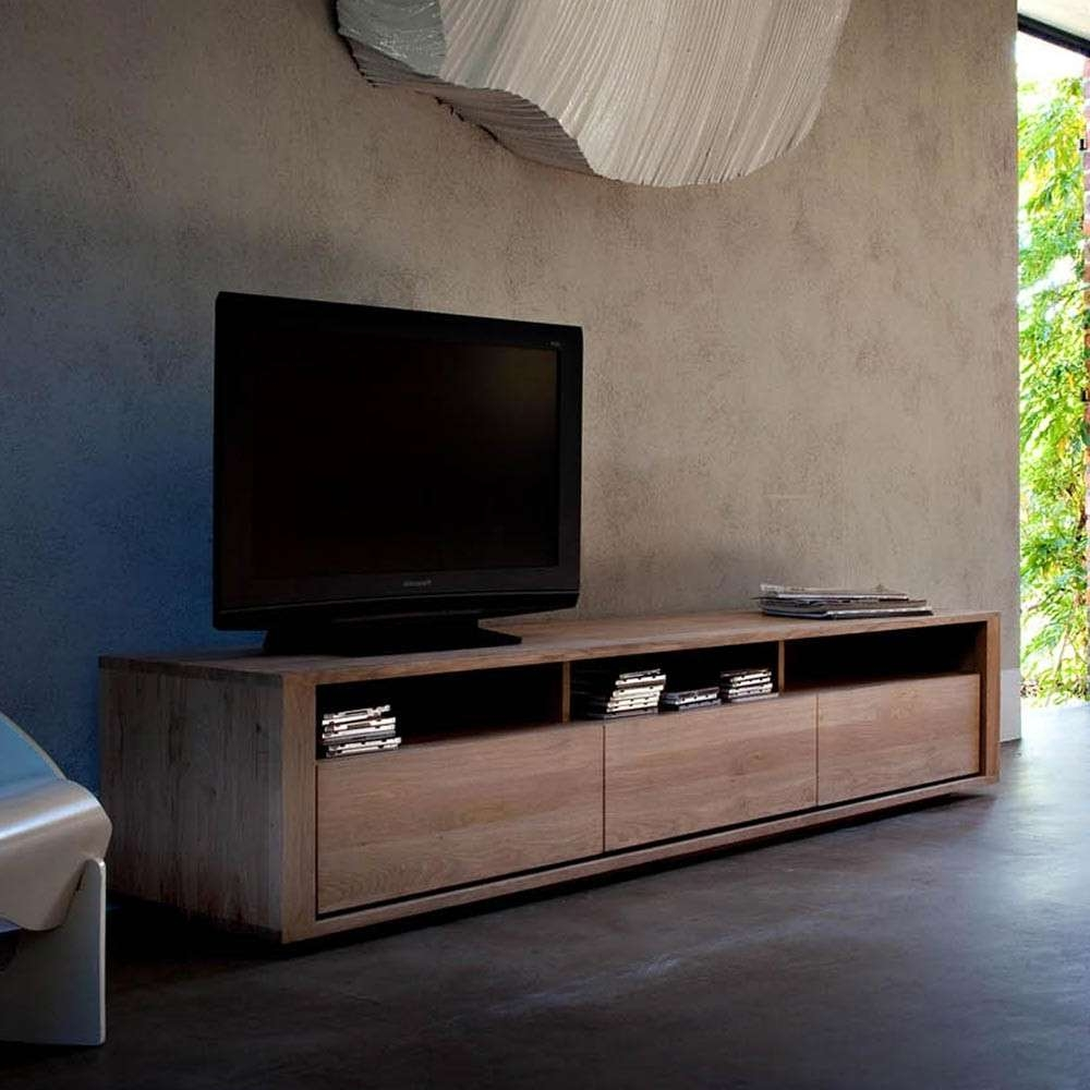 Ethnicraft Shadow Oak Tv Unit | Solid Wood Furniture In Contemporary Oak Tv Cabinets (View 10 of 20)