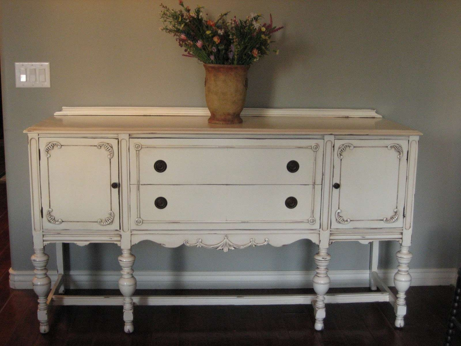 European Paint Finishes: ~ Another Pretty Antique Sideboard ~ Pertaining To Painted Sideboards And Buffets (View 3 of 20)